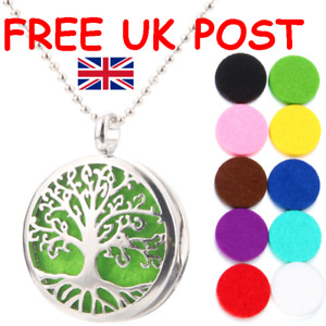 PERFUME AROMATHERAPY OIL DIFFUSER CELTIC TREE OF LIFE PENDANT NECKLACE & PADS