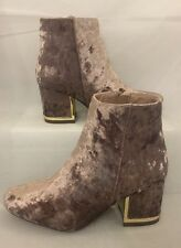 ankle boots size 6 Mocha Brown Beige Gold Heel Crushed Velvet Faux Suede Zip Up