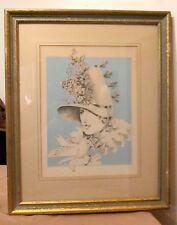 vintage original women bird flower stylized portrait pencil drawing painting Sue