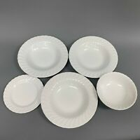 Johnson Bros Regency All White Swirl Bowls Bread and Butter Plate Lot of 5