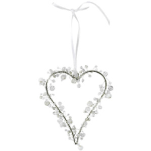 Vintage Style Silver Beaded Hanging Heart Home Wedding Gift Decoration 13x14cm