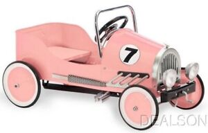 Kids Pink Pedal Car All Metal Construction Ride on Toy With Adjustable Pedals
