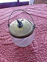 Ancien pot/seau à biscuits 1900 en verre granité couvercle aigle bronze étain