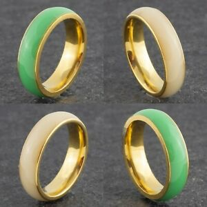 Ceramic Green or Beige Wedding Band - New Mens & Womens Gold Ring Sizes M to Y