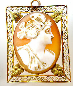 Victorian 10K Gold Cameo Pendant Filigree Brooch Carved Shell Antique Pin 1800's