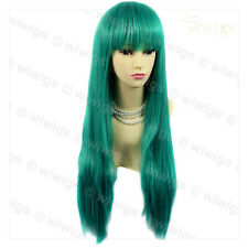 Wiwigs Long Jade Green Straight Skin Top Cosplay Heat Resistant Ladies Wig
