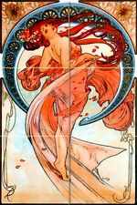 Art Nouveau Alphonse Mucha Mural Ceramic Bath Backsplash Tile #1201