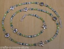 Moon & Star Face Green Chrysolite Swarovski Crystal Bead Mix Eyeglass Chain