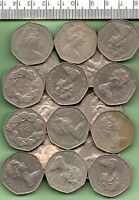 1969 - TWENTY FIVE UNSORTED LARGE FIFTY PENCE COINS