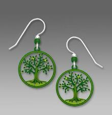 Sienna Sky Earrings Sterling Hook Green Tree of Life in Disc Handmade in USA