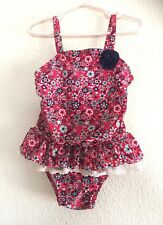 d2e2387a53 Cat & Jack Boho Floral Swimsuit One Piece Lace Red White Blue American Size  4T