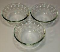 3 Pyrex Thumbprint 3 Ring Tinted 10oz Glass Bowl #464 USA Made Microwave Safe