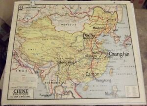 Ancienne Carte vidal Lablache Chine Politique Hong Kong Chang Haï Canton Tibet