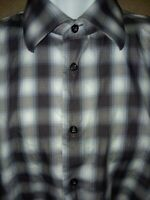 EGARA Mens 2XL Brown White Tan Plaid Check Long Sleeve Shirt  18-18 1/2