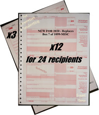 2020 IRS Tax Form 1099-NEC Carbonless for 24 recipients + (3) 1096 --->> NO Env