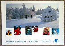 1991 Vintage FINLAND Snow Ski Snowboard TRAVEL POSTER Advertising Art Print