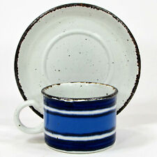 Midwinter Stonehenge MOON 8oz Cup Saucer Set 2Pc Oatmeal Blue Iron Oxide England