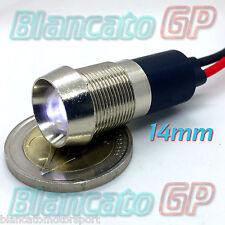 SPIA LED BIANCO 12V DC METALLO CONICO 14mm auto moto camper segnalatore lampada
