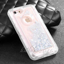 3in1 Quicksand Dynamic Clear Liquid Rugged Clip Case Cover For iphone 7 6S Plus