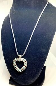 Brighton reversible Heart and Faux Turquoise. silver-tone on black cord.