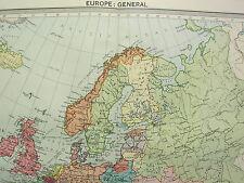 1920 LARGE MAP ~ EUROPE GENERAL ~ BRITISH ISLES DENMARK FRANCE POLAND GERMANY