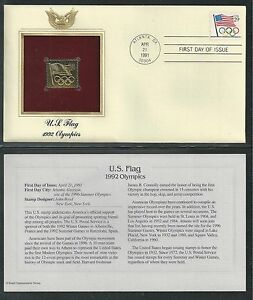 # 2528 U.S. FLAG WITH OLYMPIC RINGS 1991 Gold Foil First Day Cover