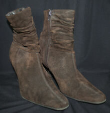 White Mountain Suede Boots Slouch Ankle Wrinkle Zip High Pointy Sexy Brown 6.5