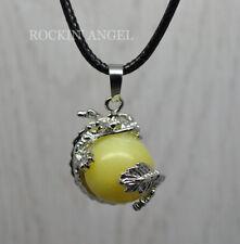Yellow Jade Dragon Ball Pendant Necklace Reiki Healing Gemstone Chakra Gift