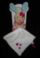 Doudou Pantin avec carré Perle le Lapin rose bleu Babynat' Baby Nat' coeur BN090