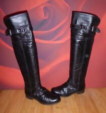 *80* Super NEW LOOK over knee black  leather riding style boots UK 4 EU 37