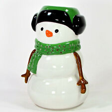 "Bath & Body Works SNOWMAN 7.5"" Candle Votive Holder Luminary White Green Scarf"
