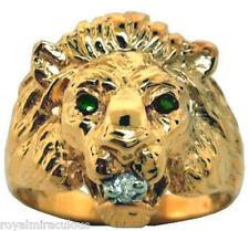 Green Emerald & Diamond Lion Head Ring 14K Yellow Gold