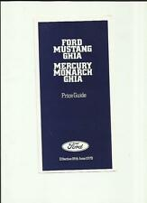 FORD MUSTANG GHIA & MERCURY MONARCH GHIA PRICE LIST SALE BROCHURE 1979 UK MARKET