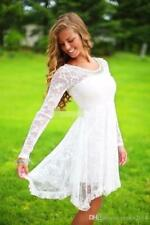 Short Casual Country Lace Wedding Dress Crystal Neckline Knee Length Bridal Gown