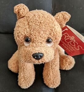 """Russ Berrie Puppy Dog BREWSTER Beanie Soft Toy 5"""" Stuffed Plush New with Tag NWT"""