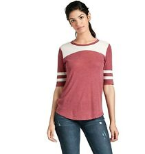 Lucky Brand - Womens L - NWT - Red Striped Elbow Sleeve Football Tee/T-Shirt