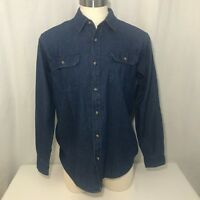 Wrangler Mens Blue Dark Wash Denim Button Front Work Ranch Shirt Size M