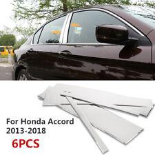 6Pcs Stainless Steel Chrome Window Door Pillar Post Trim For Honda Accord 13-16