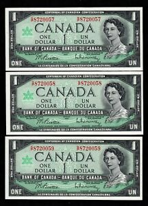 BANK of CANADA, 1967 CENTENNIAL NOTES G over P 3 IN SEQ. CH. UNCIRCULATED
