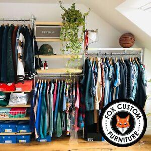 Industrial Clothes Rail Vintage Scaffold Wardrobe Shelf Storage Wood Bookcase