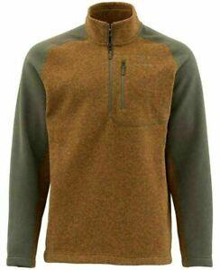 Simms  Rivershed Fleece Sweater  Men's Medium  1/4 Zip  Saddle Brown  Logo  NWT