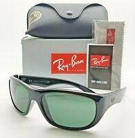 NEW Rayban Sunglasses RB4177 601 63mm Shiny Black Classic Green AUTHENTIC Wrap