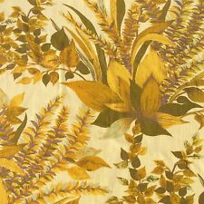 Vintage Cotton Drill Floral Curtain Fabric Remnant Brown Gold Remnant