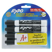 Expo Low Odor Chisel Tip Dry Erase Markers, 4 Black Markers (80661)