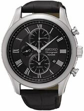Seiko Chronograph SNAF71 Black Dial Black Leather Band Men's Watch