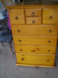 large 8 draw tall boy  country pine 1 large 2 medium 2 small  2 smaller drawers