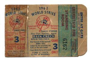 Original 1962 World Series Ticket Stub Yankees Giants Mickey Mantle Willie Mays