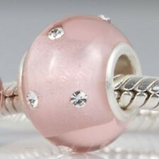 925 Sterling Silver Core Murano Glass Charm Bead With CZ Stones Inset