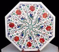 "12"" Marble Corner Table Top Floral Semi Precious Stones Inlay Work"