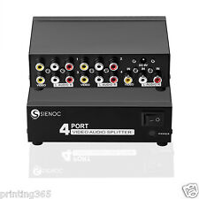 4 Port Video Audio AV 3RCA Splitter für TV Box HDTV DVD PS3 1 in 4 Ausgang
